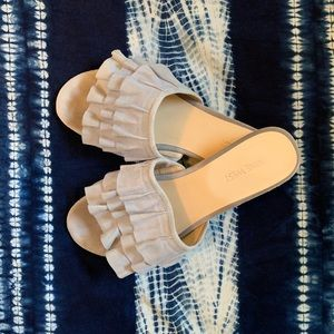 Nine West Light Blue Suede Slides